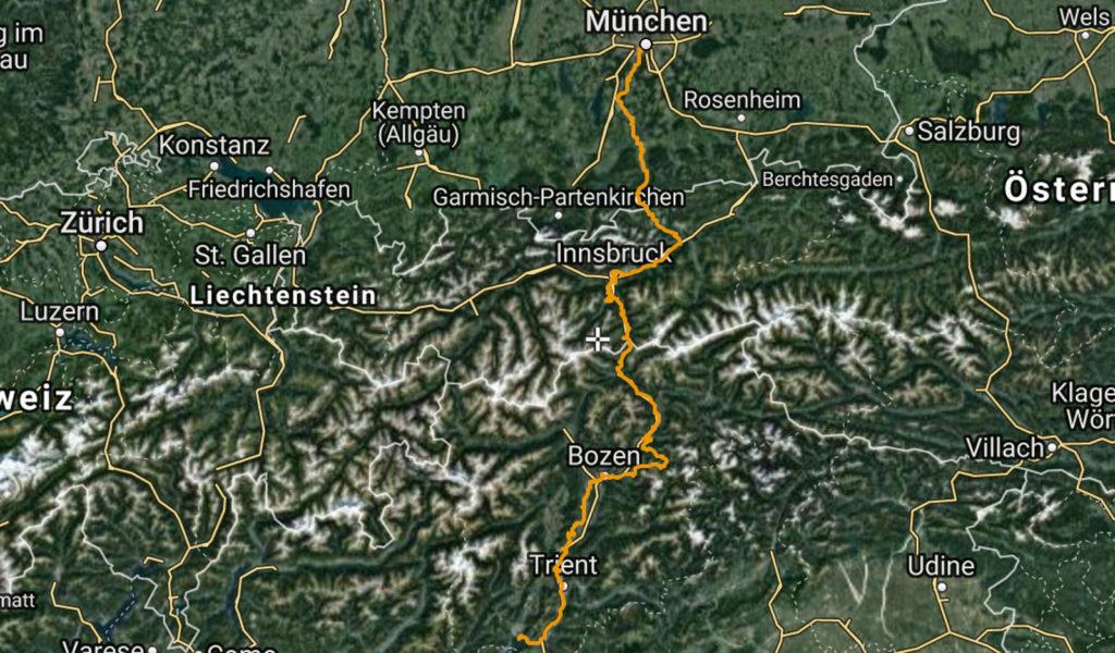 Unsere Strecke durch die Alpen